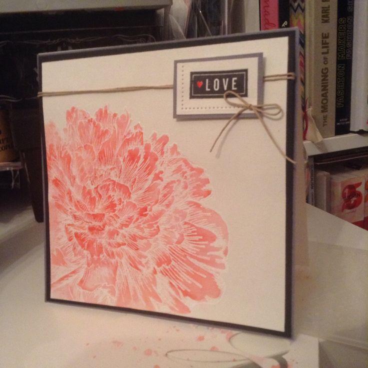 Watercolour peony card - irregular crafts