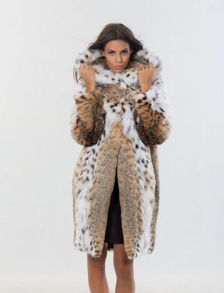 Bobcat Natural Long Hair Coat With Hood     #lynx #fur #coat #hooded #classy #elegant#luxury #fur #coat #lynx #design #dress #style #fashion #mexa