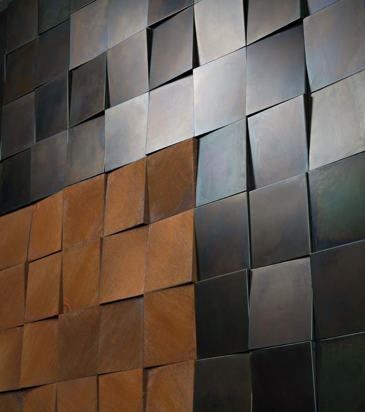 De Castelli #parete #3D in #corten e ferro acidato acid etched #iron. Utilizzo #indoor