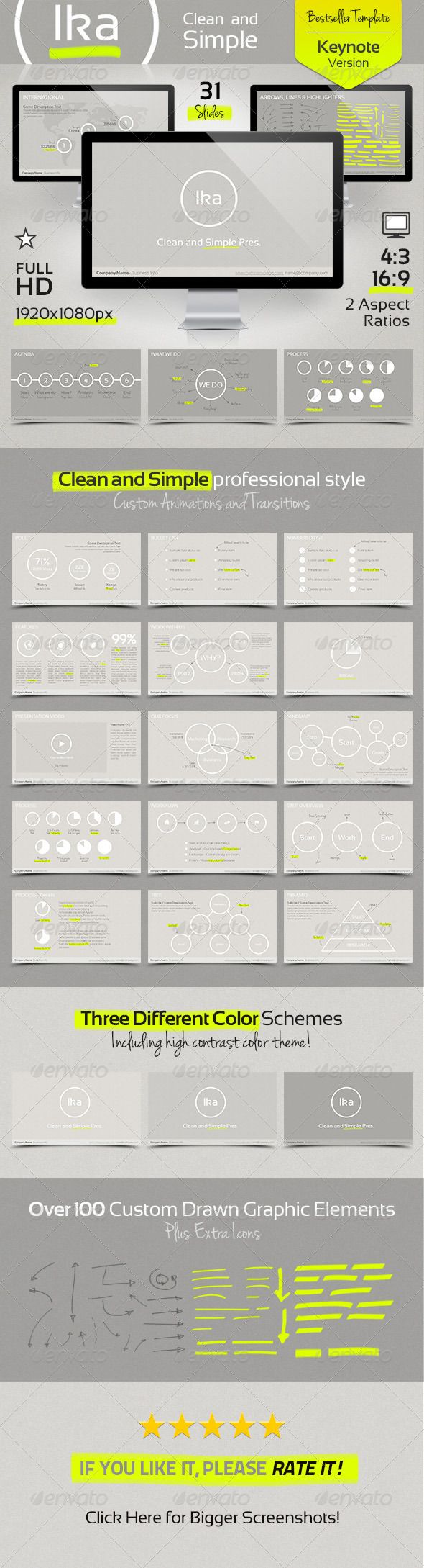 Ika - Clean and Simple Keynote Template  #GraphicRiver        Ika, Clean and Simple Keynote Presentation. Ika is a Keynote Presentation Template with custom graphic elements and animations. Recommended for those who want to keep it classy, with clean and simple presentations, yet very stylish. This presentation has unique simple colors (which come in 3 different variations), and 100+ graphic elements (handwritten arrows, lines and colored markers). It is highly customizable with easiness…