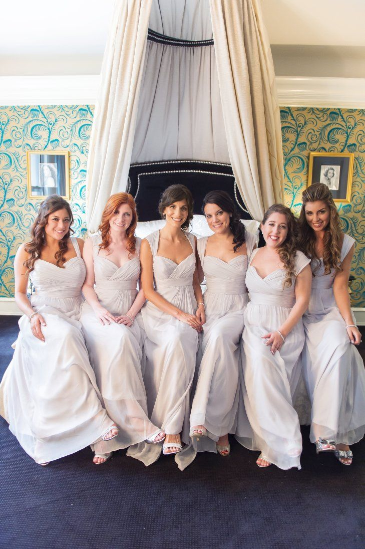 Gray floor-length bridesmaid dresses
