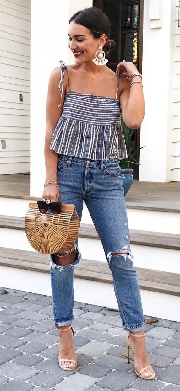 cool ootd top + bag + rips