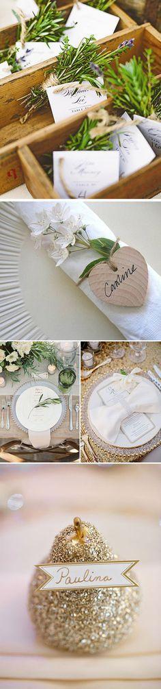 Ideas para colocar los marcasitios de los invitados en las bodas