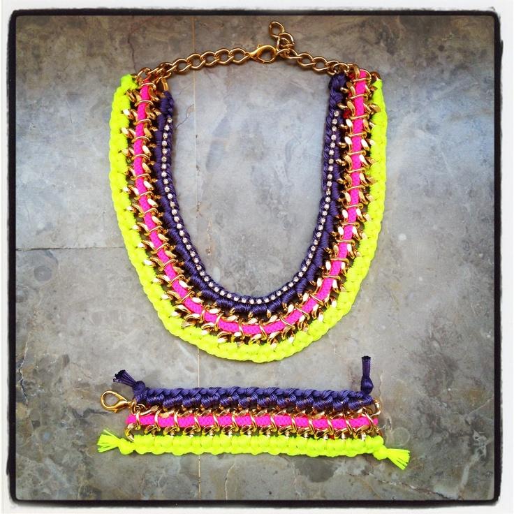 Rainbow chain necklace & bracelet