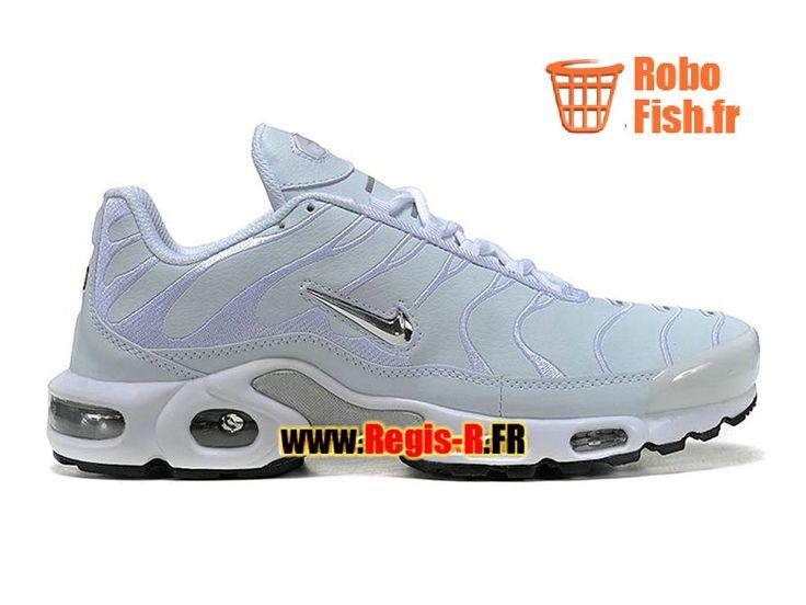 Nike Air Max Tn/Tuned Requin TPU GS - Chaussures Nike Sportswear Pas Cher Pour Femme/Enfant Blanc/Argent/Noir 604133-002G