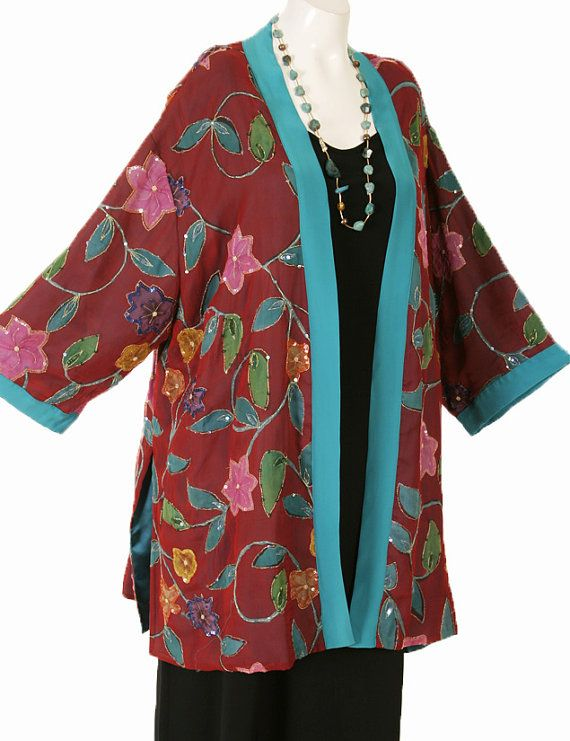 Peggy Lutz Plus Size Designer Tunic-Length Kimono Red Turquoise Yellow Pink Handpainted Jewelled Silk Crepe Size 26/28, 30/32