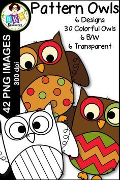 Pattern Owl clip art for teachers! There are 6 designs. 30 full color images, 6 transparent images and 6 black and white images. They are all high resolution digital images at 300dpi for highest quality printing for all your projects. Great for teacher resources or for digital scrapbooking. CLICK NOW to view. #clipart #clipartforteachers #digitalillustration #digtaldesign