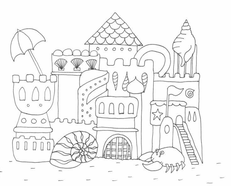 Homokvár Rajz, Drawing Sandcastle, Coloring Page, Színező