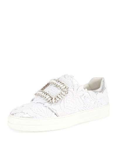 Sneaky Viv Macramé Strass Buckle Sneaker, White/Silver