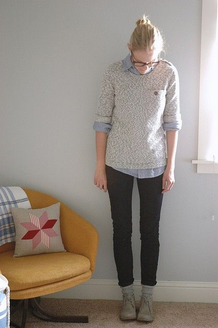 Denim shirt under a sweater so simple i 39 ve used variants for Skinny jeans with shirt