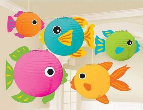 Set the stage for a great summer party or luau with these beautiful paper wire frame fish lanterns that are perfect as hanging decorations. Package includes 5 fish lanterns that measure 5 3/4in, 7 3/4in and 9.5in.