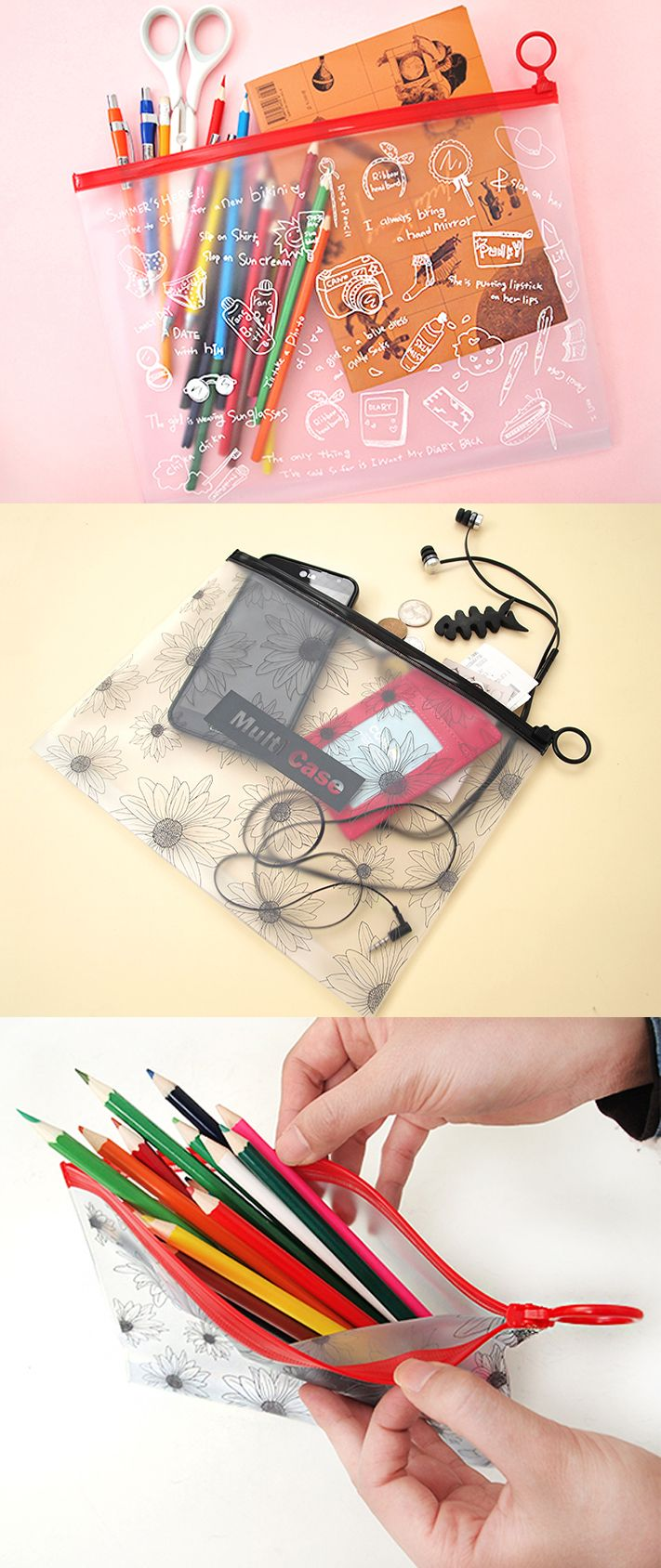 There isn't a more multifunctional pouch than the Vivid PVC Pouch. Its translucent design lets you see what's inside, so it's great for pens, stationery, craft supplies, devices, gadgets, and so much more!