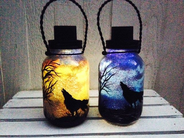 Day OR Night Wolf in the Desert, Mason Jar Light, Outdoor Solar Light, Hand Painted Mason Jar, Hanging Lantern, Quart Size, Outdoor Lighting by CareBaresCreations on Etsy https://www.etsy.com/listing/180477779/day-or-night-wolf-in-the-desert-mason