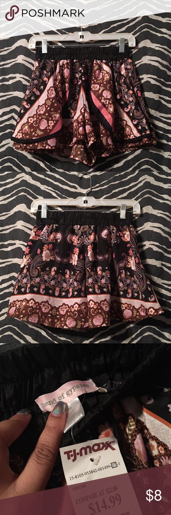 "Band of Gypsies Shorts. This is a brand new pair of shorts, they are 100% polyester, multicolored with an elastic waistband. I have never worn these myself because they're too small, so I can't say how they'd fit. Thanks for looking!   🔹Please feel free to ask questions or make an offer using the ""offer"" button🔹 🚨 If I don't already have a ""model photo"" I am unable to provide one.🚨 💌 I ship same or next day unless stated otherwise💌 ☺️Thank you!☺️ Band of Gypsies Shorts"