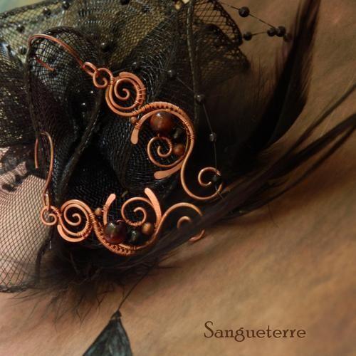Ereshkigal * goddess earrings * wirewrapping * wirewrapped * jewelry * copper * romantic * fantasy * fairy * elf * fairytale * magic * art nouveau * handmade