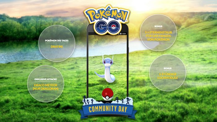Pokemon Go: Community Day and Legendary week    Tomorrow Saturday will appear from 11:00 to 14:00 German time many Dratini from which most of the knufffig and at the same time strongest Pokémon: Dragoran can develop. At the same time two Legendary Pokemon return.   Niantic and The Pokémon Company have in the last few months a lot of think of to let the Pokémon Go players even with winter weather outside to lure. One of these incentives is the Community Day that takes place once a month every…
