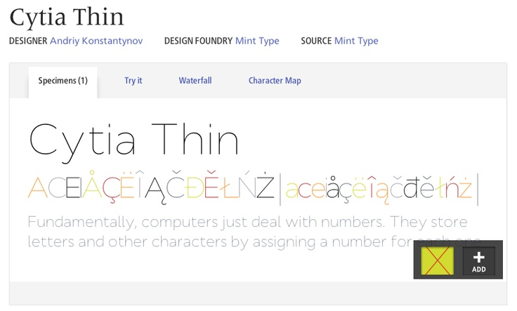 FONT: Cytia Thin: text that is not a headline or subheadline.