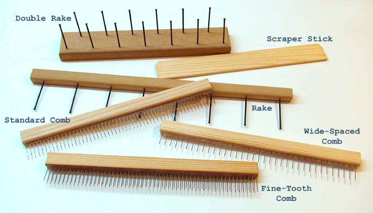 toothpicks or nails on wood for the rakes