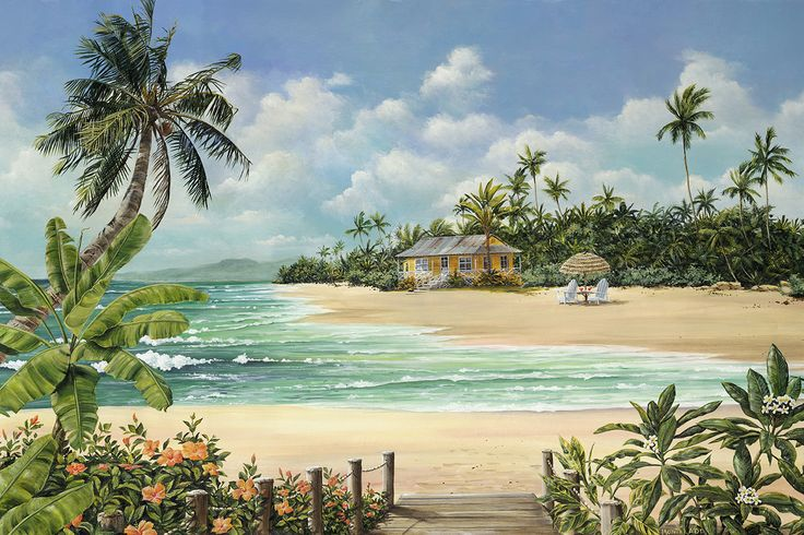 """Hideaway Cove"" A combination of several places that I love. The beach is from Kauai, but there is no house here...only in my painting! fineartbymonti.com"