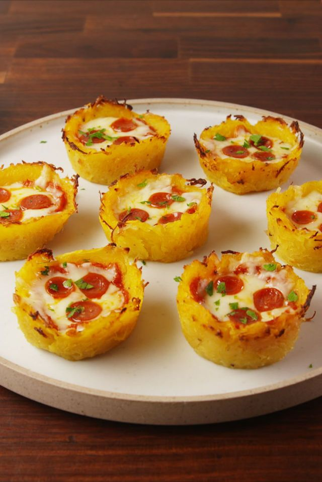Spaghetti Squash Pizza Nests  - Delish.com