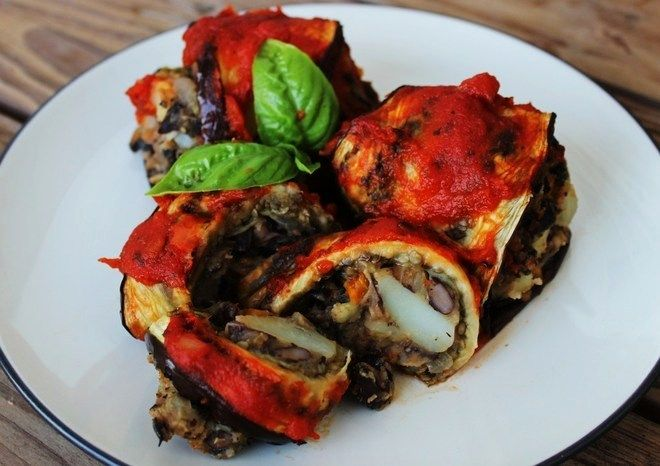 Vegan Eggplant Rollups with Black Bean-Potato Stuffing | Vegan Runner Eats