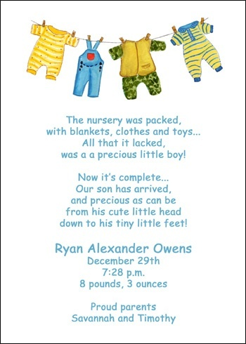 2342cs Ac Baby Clothesline Birth Announcement Cards At