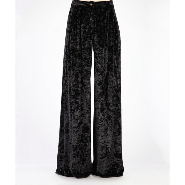 Carla by Rozarancio Black Wide-Leg Velvet Pants ($100) ❤ liked on Polyvore featuring pants, plus size, plus size pants, womens plus pants, wide leg trousers, wide leg pants and woven pants
