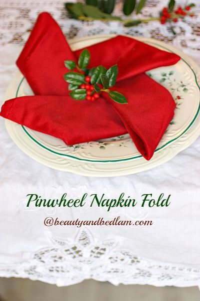 I wish I'd seen this before Christmas. I'll have to try it another time. Pinwheel Napkin Fold @jen (Balancing Beauty and Bedlam/10 Minute Dinners blogs).com