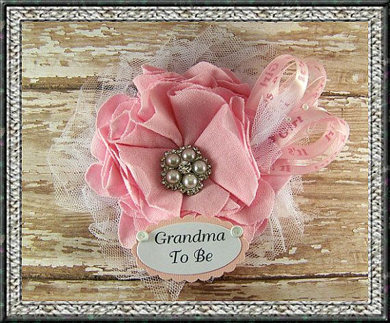 Pink Grandma To Be Corsage Baby Shower Corsage Mom Badge Mom Corsage Pink Mommy To Be Corsage