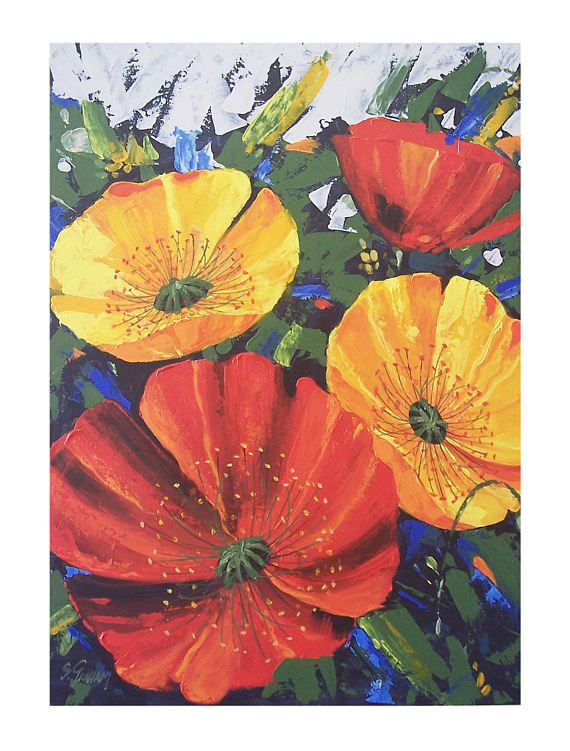 Red and yellow poppies with green leaves and a textured background. Painting was done in acrylic paint on board, using brushes and mainly palette knives. This gives wonderful texture freedom to the painting which is glazed for protection and colour enhancement. This is an original painting, ready to frame, not a print. Painting size is 60cm x 45cm; Image area is 53cm x 37cm. Border is approx 4cm all round. Artwork comes unframed and packaged in a sturdy mailing box. Presentation is a…