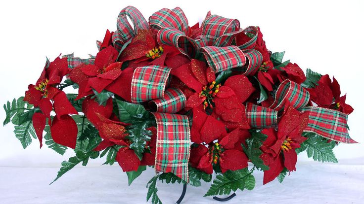 Holiday Christmas Red Poinsettia Silk Flower Cemetery Tombstone Saddle Saddles Flower And Red