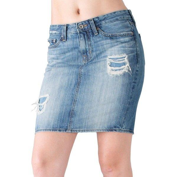 Big Star Women's Kara Distressed Pencil Skirt ($49) ❤ liked on Polyvore featuring skirts, lennox, zipper pencil skirt, ripped skirt, blue pencil skirt, pencil skirts and knee length pencil skirt