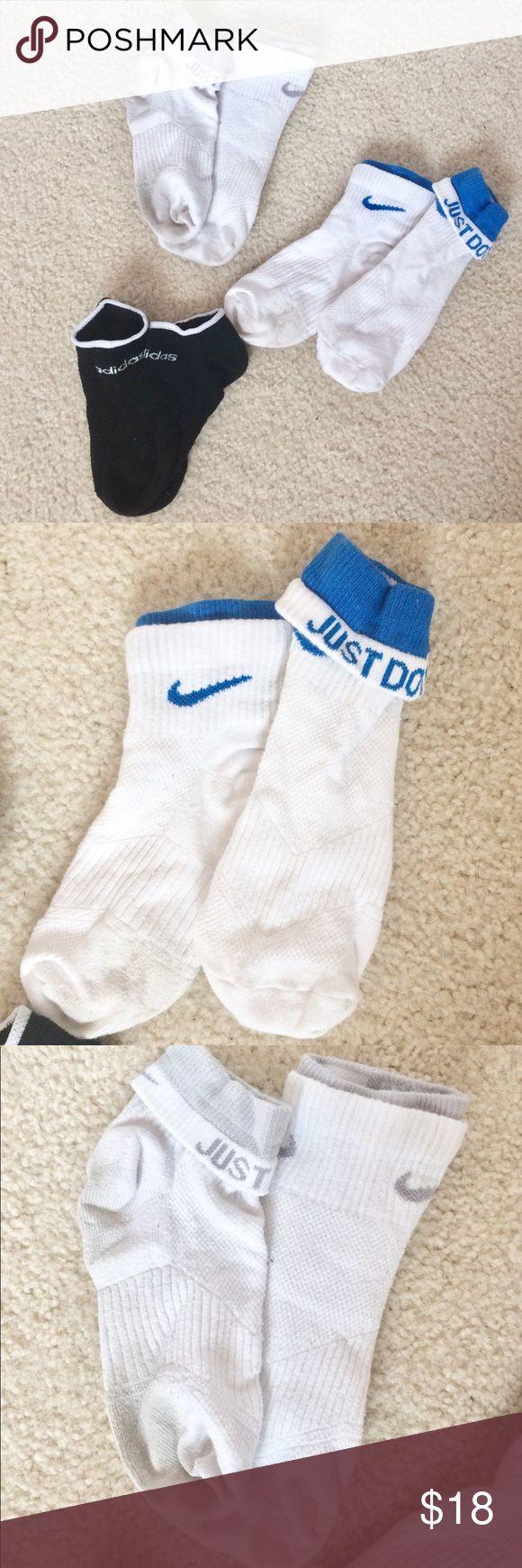 Nike Ankle Socks White and Black Adidas Sock 47 Black