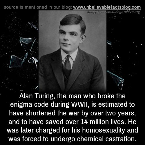 Alan Turing, the man who broke the enigma code during WWII, is estimated to have shortened the war by over two years, and to have saved over 14 million lives. He was later charged for his homosexuality and was forced to undergo chemical castration.
