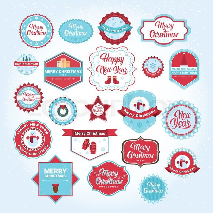 Merry Christmas icons, vector graphic set