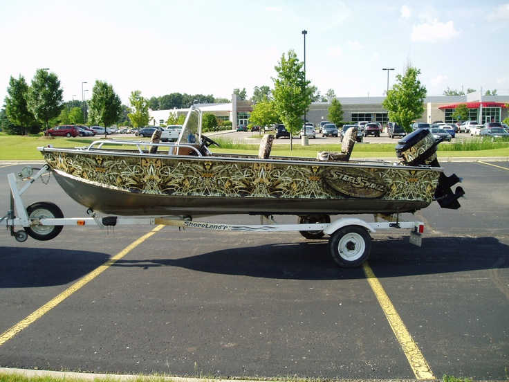 Camo fishing boat wrap by steel skinz graphics www for Fishing boat wraps