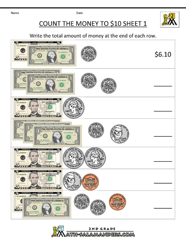 Count The Money To 10 Dollar Homeschool 2nd Grade