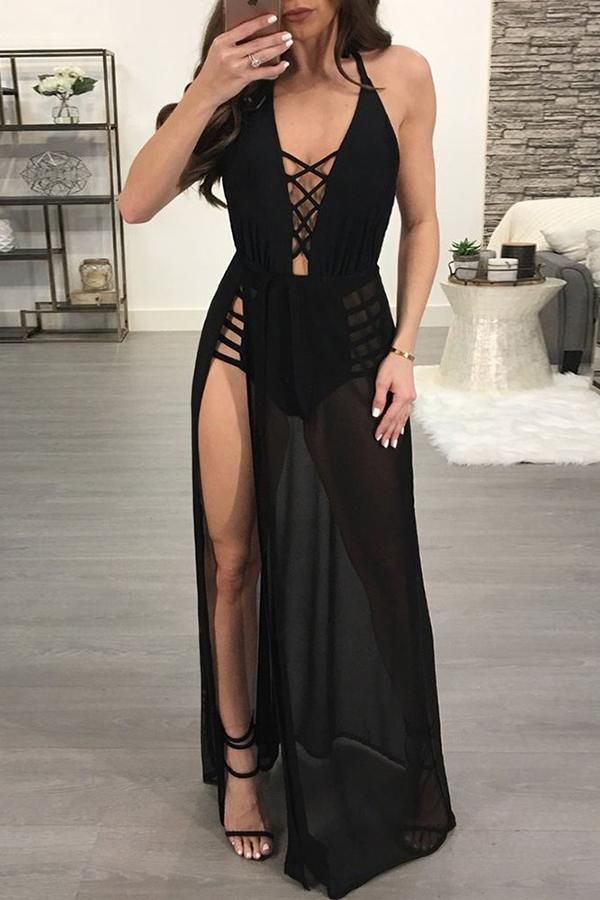 bf4d81b6eb04 Sexy Mesh Lace Up Backless Maxi Dress Romper | Cruise | Romper dress ...