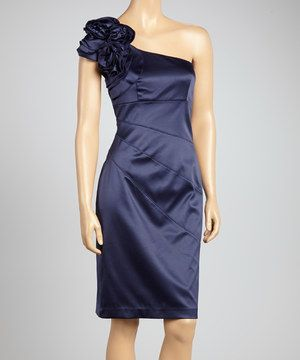 Look what I found on ! Jessica Simpson Collection Navy Ruffle Asymmetrical Dress - Women by Jessica Simpson Collection