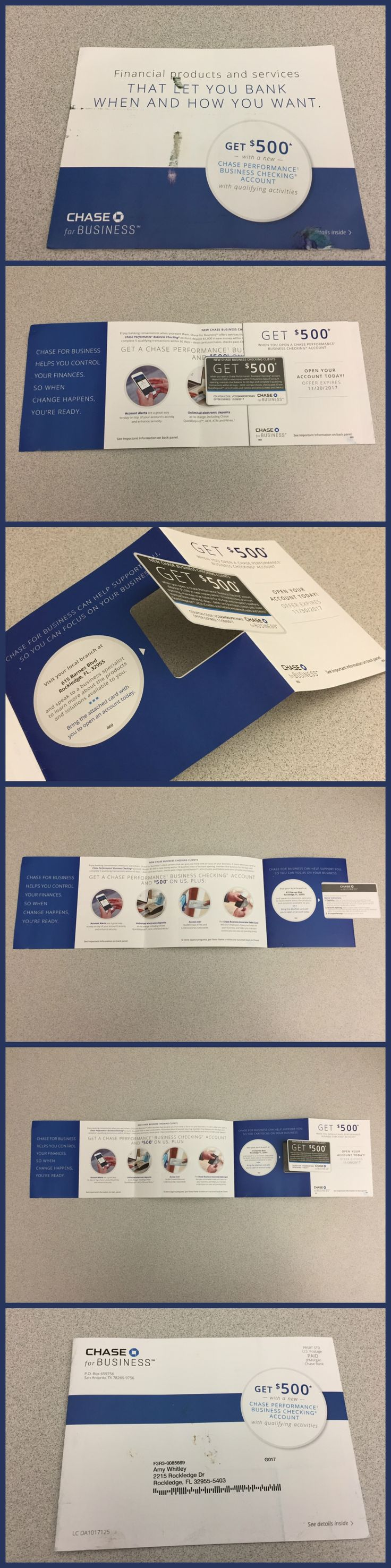 Chase Bank direct mail piece that features die cut window, perforated coupon and spot UV gloss coating.