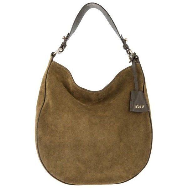 Abro Kaleido/Velvet Hobo Bag Suede Cypress in green, Shoulder Bags ($220) ❤ liked on Polyvore featuring bags, handbags, shoulder bags, green, suede handbags, brown shoulder bag, suede shoulder bag, suede hobo handbags and shoulder handbags