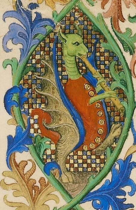 Late-gothic dragon playing the flute in a mandorla. Medieval manuscript illumination in Europe.