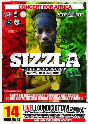 Sizzla – Kalonji Live - concerto musica reggae venerdì 14 novembre 2014 al Livello Undiciottavi di Trepuzzi (Le)