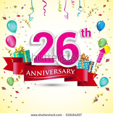 26th Years Anniversary Celebration Design, with gift box and balloons, red ribbon, Colorful Vector template elements for your birthday party.