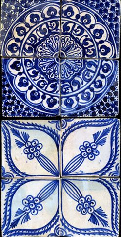 Blue and white, tile style, by Moroccan Ceramic Art