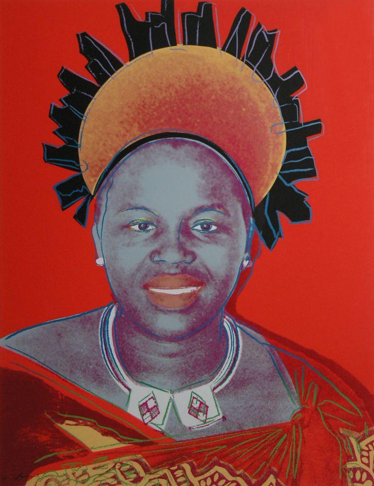 """REIGNING QUEENS: QUEEN NTOMBI TWALA OF SWAZILAND  ANDY WARHOL  Obdobie: 1984  Materiál: sieťotlač na kartónovom papieri """"LENOX MUSEUM BOARD""""  Technika: tlač  Značenie: značené a číslované vľavo dole ceruzou  Séria: 1/40     #art #auction #warhol #andy #popart #NTOMBI #TWALA #museum #auctionhouse #diana"""