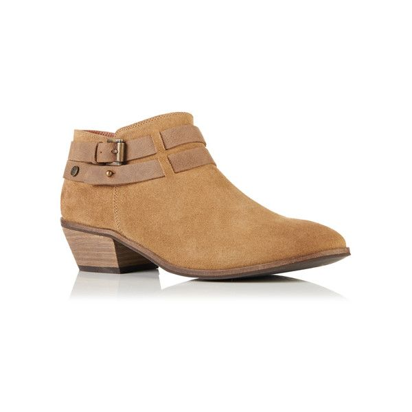Superdry Lily Low Ankle Boots (115 BRL) ❤ liked on Polyvore featuring shoes, boots, ankle booties, brown, brown booties, short brown boots, low ankle booties, ankle bootie boots and mid heel boots