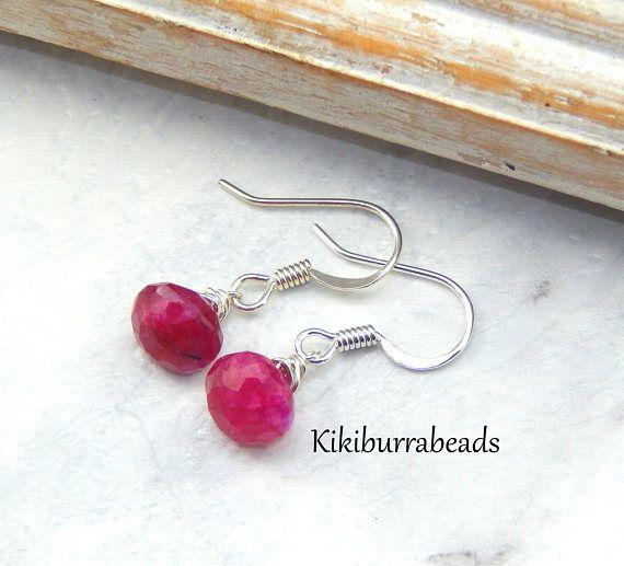 Ruby EarringsJuly BirthstoneRed Ruby Earrings Wrapped