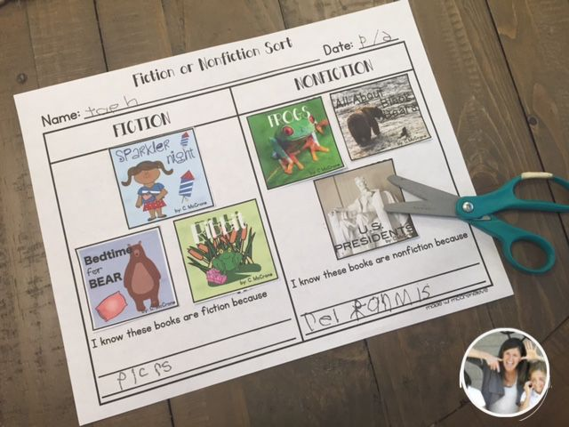 Fiction or Nonfiction Book Cover Sort ~ Recognizing common types of text and explain differences between books that tell stories and books that give information