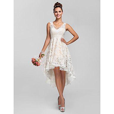 A-line/Princess V-neck Asymmetrical Lace Bridesmaid Dress – USD $ 89.69